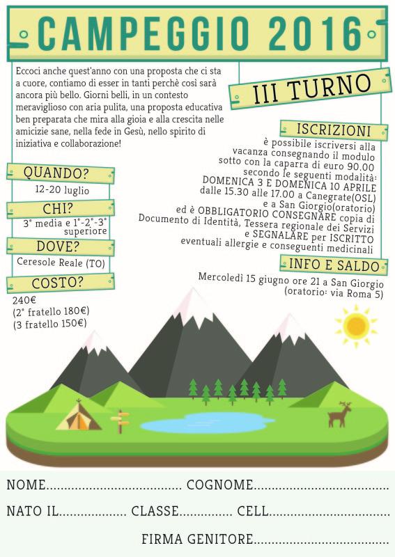 Campeggio 2016 3° turno